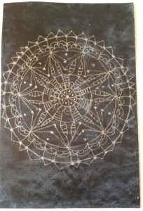 Payne's Gray spread over the card for the background; mandala  drawn with a silver metallic gel pen.