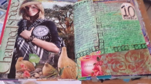 Magazine images, acrylic paint, gesso, hand carved stamps, orange Permapaque marker, gelli prints, wrapper for tea bag, homemade tag